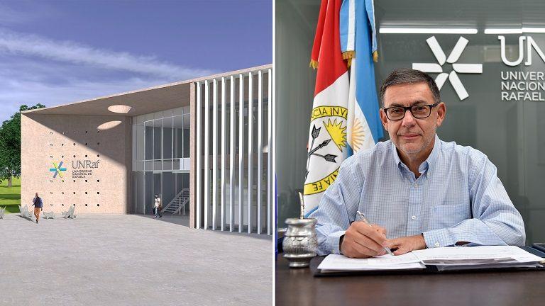 El proyecto de obra del primer edificio del campus puesta en marcha en 2019 y el Rector de la UNRaf, Dr. Rubén Ascúa.